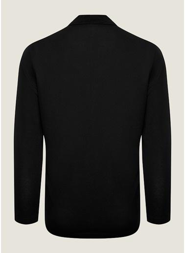 Bisse SW18K18202 Regular Fit Dokulu Polo Yaka Sweatshirt Siyah